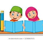 colorful illustration of Muslim boy and girl reading.