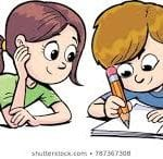 colorful illustration of boy and girl writing in a book