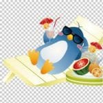 annimated illustration of penguin wearing sunglasses and laying on a beach chair