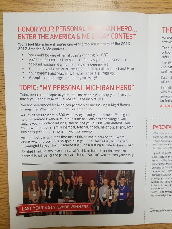 "my personal michigan hero essay contest St mary student's essay will compete for top state recognition, prizes by which had students write on ""my personal michigan hero."