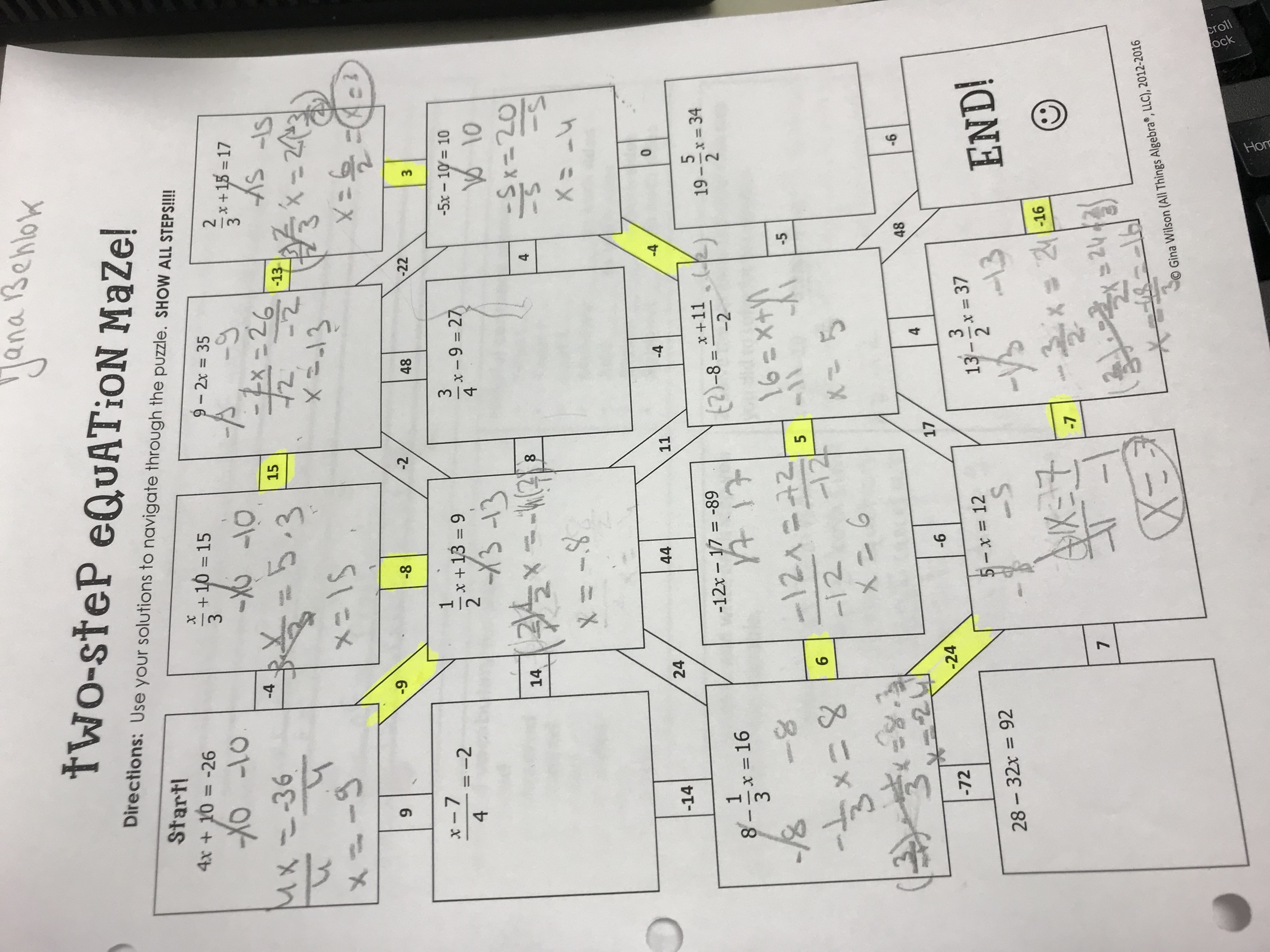 Two Step Equation Maze Answer Key Gina Wilson - Tessshebaylo