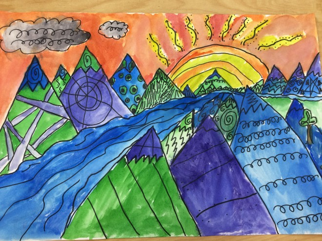 Using Lines In Drawing : 4th zendoodle landscapes u2013 art with ms. bruce