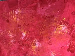 Example of painted paper that has colors painted bubble wrap and circles stamped on top, and lines drawn into the paint with a fork