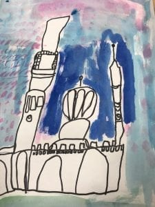 watercolor painting and a sharpie drawing of a mosque