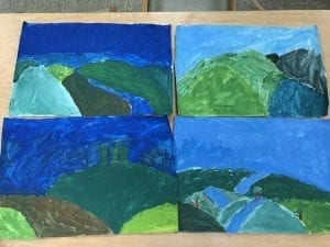 four paintings that show blue skies, and green rolling hills