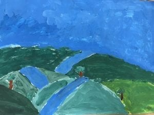 painting of green hills with a blue river or road running down the middle of each of them, a few trees on the hills, and a blue sky