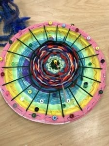 student weaving; a paper plate with concentraic circles of yarn woven in front if it, some beads glued to edges of plate