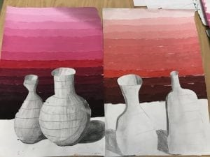 Two student artwork examples, a colored value scale background with two vases in front shaded in pencil