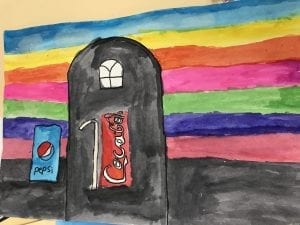 a student painting of a coke and pepsi can standing in front of a black house that has a Gothic window, the coca cola can is holding a straw