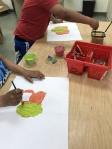 student arms painting butterfly wings on one half of their papers