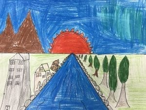 a student drawing with a river in the center of the landscape, building on one side of the river, and trees on the other side. A sun and mountains are in the background.