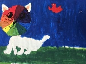 a painting of a cat where the cat's head is a color wheel