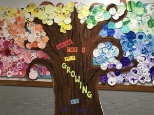 """large painted tree with colorful circles for leaves, arranged in rainbow order; the phrase """"Ready for a year of growing in the art room"""" is on the tree trunk"""