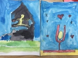 two bubble people paintings both jumping in the air in the splits