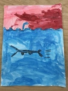 painting of a bubble shark swimming