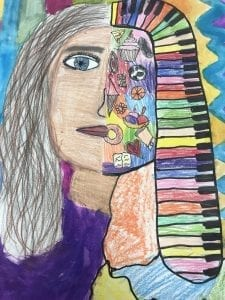 a drawing of a girl that has half of the face filled with objects (rainbow piano keys for hair, a soccer ball for an eye, ice cream cone, basketball, etc.)