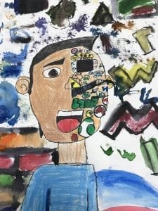 a drawing of a boy with half of his face replaced with objects many of which are characters from video games