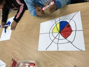two students with papers in front of them that have black lines showing a spider web and they are coloring in the spaces of the spider web with red, yellow, and blue.