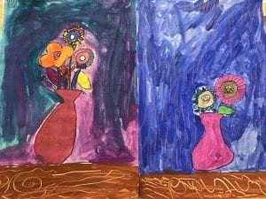 two student paintings of a vase of flowers with colorful flowers inside, they have a blue painted background and brown table