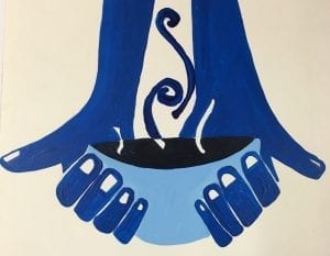 painting of two hands holding a bowl of soup