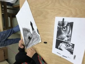 student hands shading in an owl drawing; there is a black and white photo of an owl next to the student