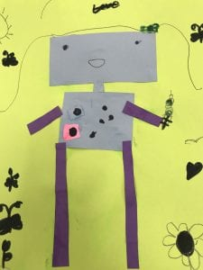 student artwork that shows a robot with a rectangle head, body, and arms and legs, it is holding an ice cream cone that has been drawn with black marker