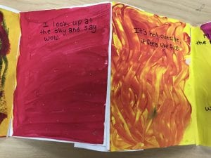 """two small paintings next to each other, one is red and the other is yellow and orange mixed together with wavy vertical lines. they say """"I look up at the sky and say wow...It's hot outside, it feels like fire"""""""