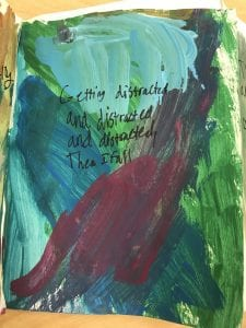 """small painting with blue, green, and a dark red painted spots that says """"getting distracted and distracted and distracted then I fall"""""""