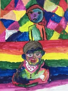 two student self portrait paintings that show themselves in a black outline with many colors filling their face, body, and background