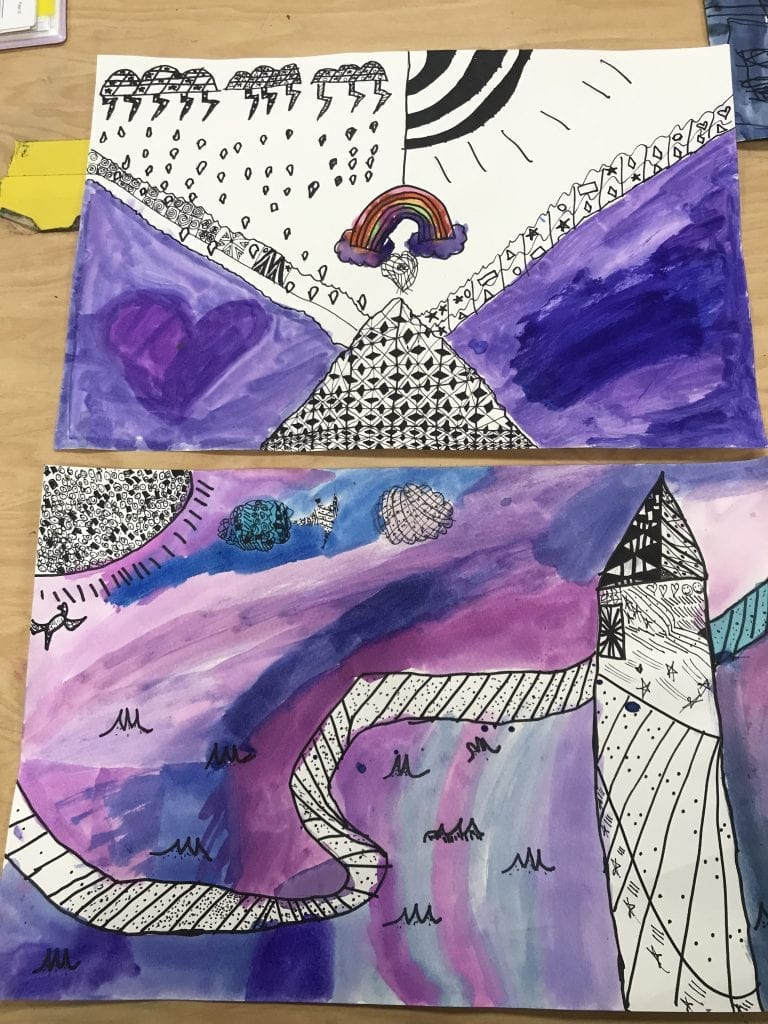 These are two stduent paintings; one has drawn a mountain and rain clouds and the other drew a tower, road, and a sun.