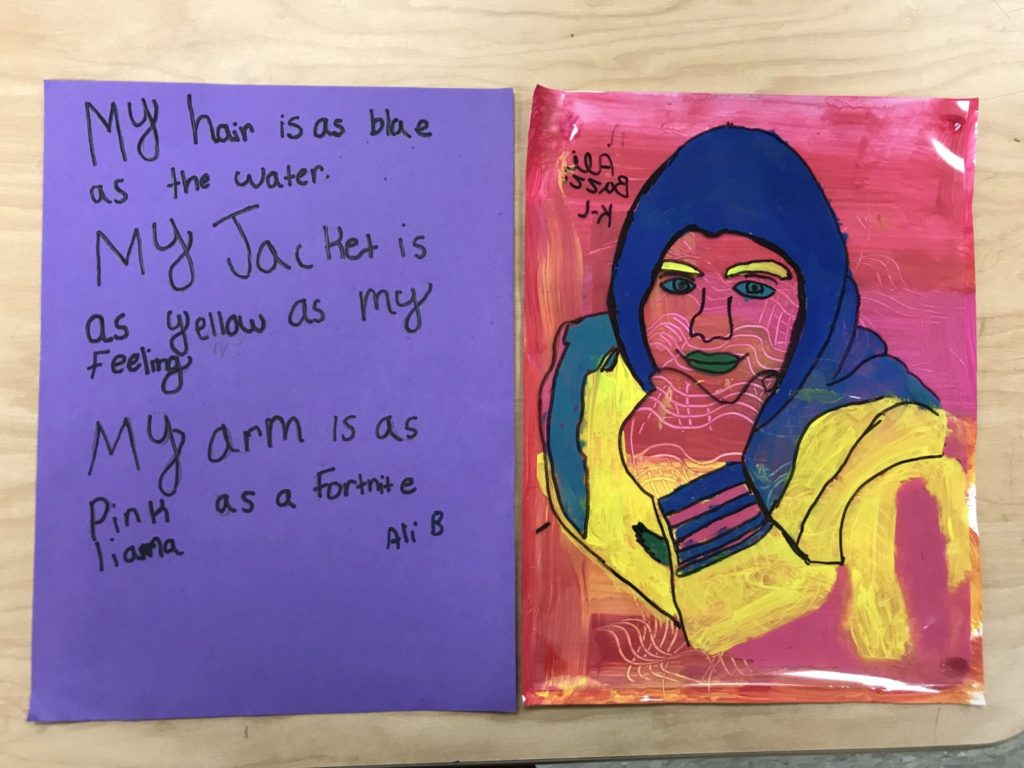 """This student painted his clothes blue and yellow and his skin and background are pink. He wrote, """"My hair is as blue as the water. My jacket is as yellow as my feeling. My arm is as pink as a Fortnite llama."""""""