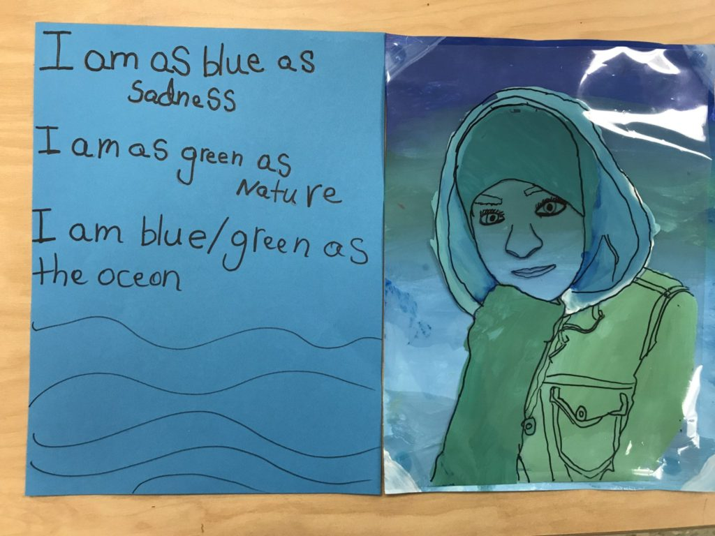 """This student painted herself all different shades of blue and green. She wrote, """"I am as blue as sadness. I am as green as nature. I am blue/green as the ocean."""""""
