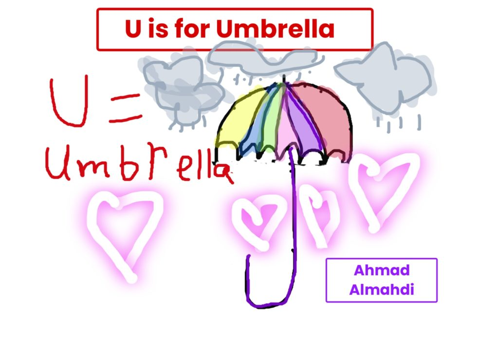 drawing of an umbrella with clouds and hearts in the background