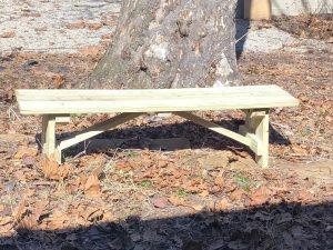 Hand made wooden flat-top bench