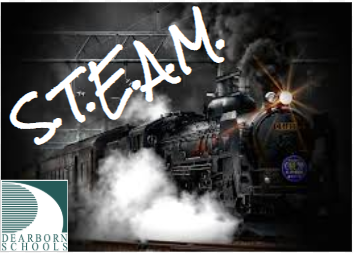 train with steam and letters s t e a m with dearborn schools logo