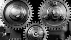 silver metal gears