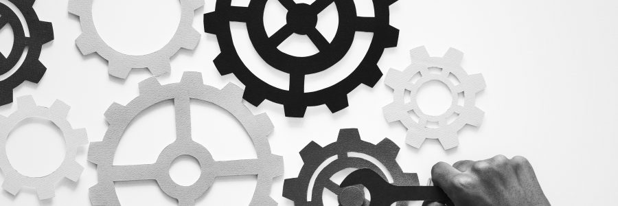 black and white gears and cogs