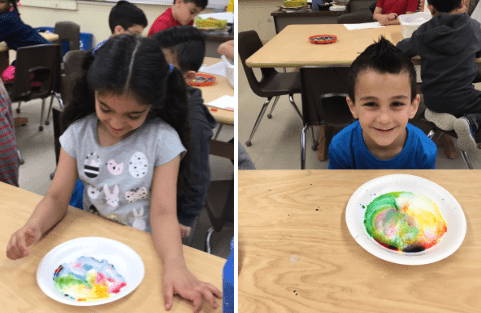 students show their fat molecules experiment on paper plates in the art room