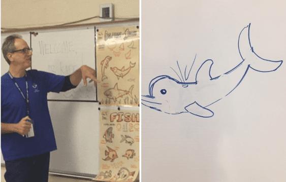 Stephan Kade shows how to draw marine animals