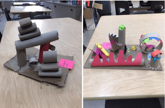 examples of student artwork using cardboard tubes and colored paper