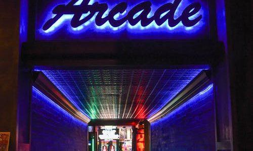 neon blue arcade sign