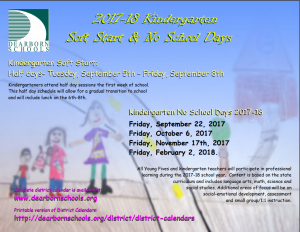 Kindergarten Soft Start and No School Days