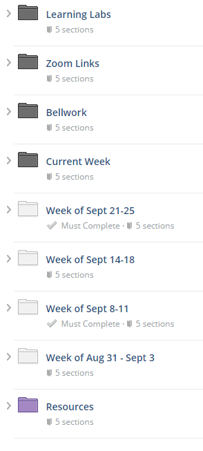 This is an image of the folders listed on my Schoology main course page.