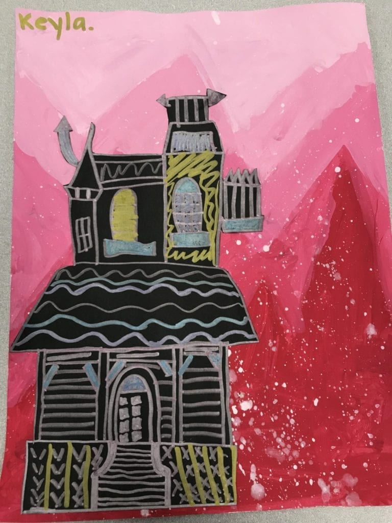 This student painted tints of red in her sky, splattered white to look like snow, and then has a Victorian house made of black paper with metallic marker lines glued to the front.