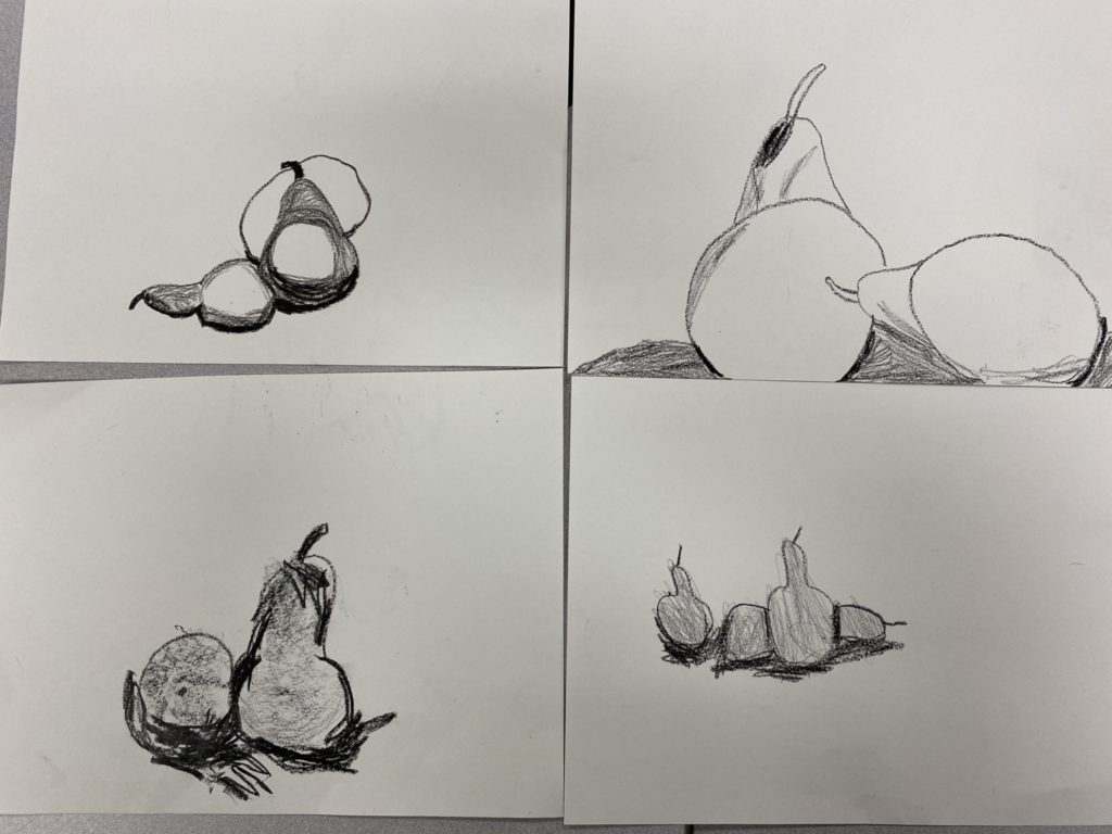 four drawings of pears with shadows under them.