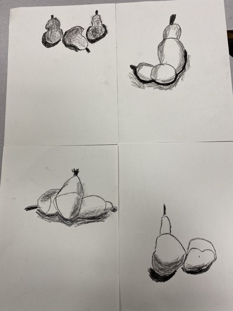 four drawings of pears with shadows under them