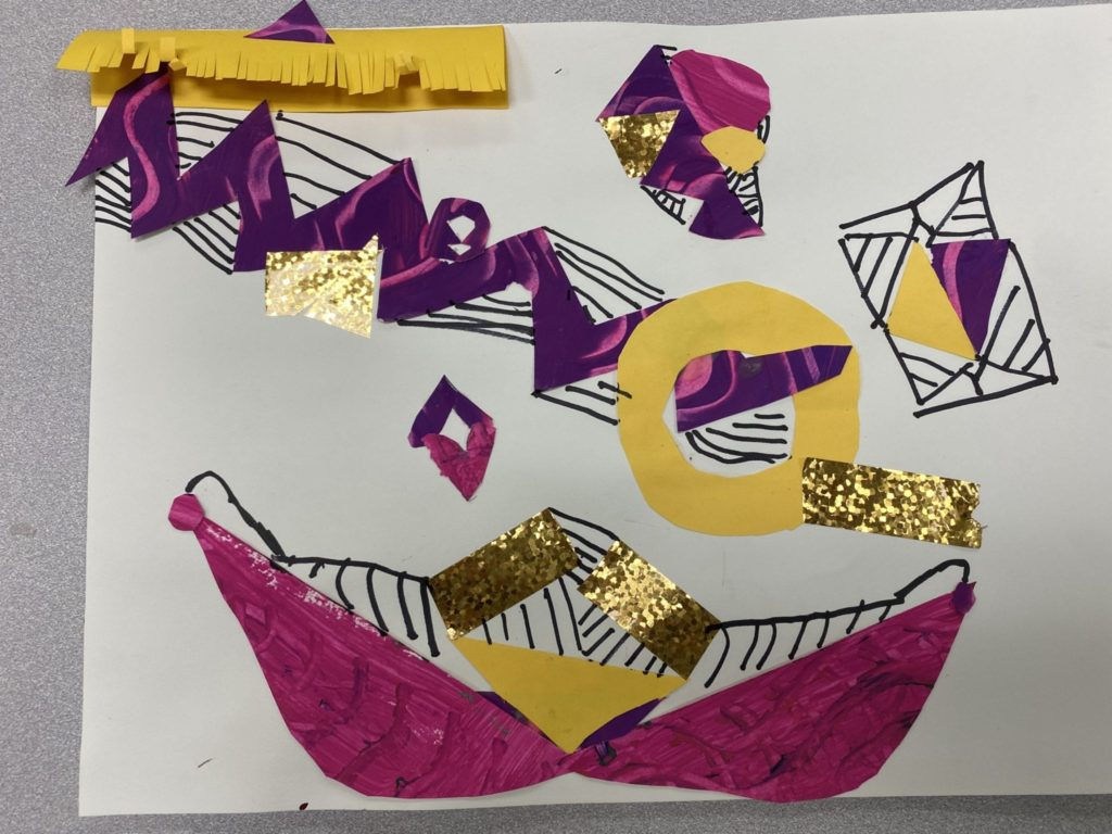 Colage that has several pink, yellow, and purple shapes as well as gold pieces of tape and black marker stripes in a random design