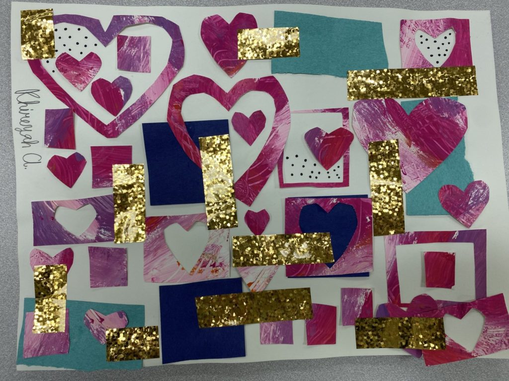 This collage used lots of heart shapes and rectangles. There is also many pieces of gold tape placed throughout the design.