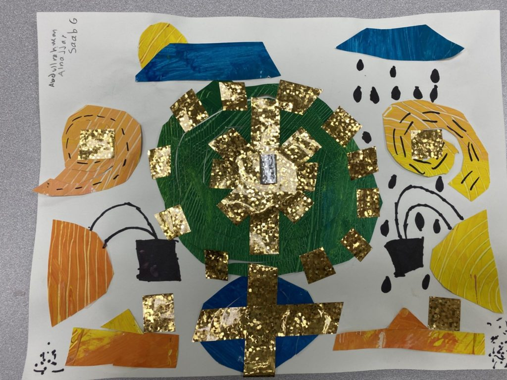 Collages painted papers that are green, blue, yellow, and orange cut and glued in random shapes with gold tape placed on top of the shapes and black marker designs drawn on the top of it all