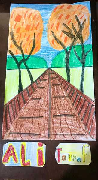 drawing of a road moving away from the viewer with orange trees on each side.